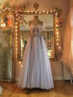Grey Tulle Wedding Gown with Matching Beaded CapeletJoanne Fleming Design | Blog