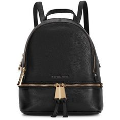 Womens Backpacks Michael Kors Rhea Black Leather Backpack (5.054.635 IDR) ❤ liked on Polyvore featuring bags, backpacks, leather knapsack, black backpack, michael kors backpack, black knapsack and day pack backpack