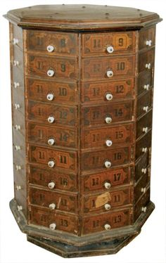 Country store nut & bolt cabinet, octagonal 72 pie-shap : Lot 483