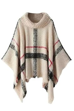 MUXILOVE Damen Poncho Pullover Gestrickt Umhang Sweater Top Winter Strickpullover Rollkragen gefalteter Beige