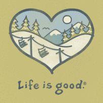 Women's Skiing Heart Short Sleeve Tee|Life is good