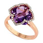 Lavender Ros� by EFFY Amethyst (5-3/4 ct. t.w.) and Diamond (1/5 ct. t.w.) Clover Ring in 14k Rose Gold
