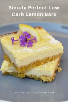 Big Diabetes Free - Simply Perfect Low Carb Lemon Bars - So freaking good, you wont believe these lemon bars are only g carbs per serving! - Doctors reverse type 2 diabetes in three weeks Diabetic Desserts, Sugar Free Desserts, Lemon Desserts, Diabetic Recipes, Low Carb Recipes, Skinny Recipes, Healthy Desserts, Free Recipes, Healthy Recipes