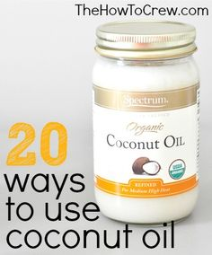 How-To Use Coconut Oil 20 Creative Ideas from www.thehowtocrew.com. See how one oil can replace so many products in your home! #coconutoil #beauty #diy