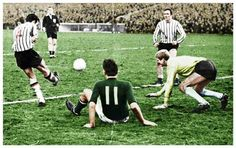 Celtic 0 Dunfermilne Ath 2 in January 1968 at Parkhead. A clearance by Athletic in the Scottish Cup 1st Round.