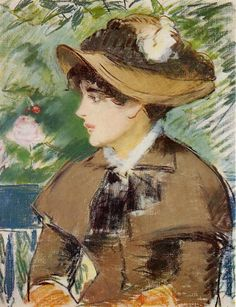 Young Girl on a Bench, Jeanne de Marsy Sur le banc - Edouard Manet , 1879 French, 1832-1883 Pastel Private collection Impressionism