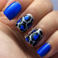 Sally Hansen 'Pacific Blue' with leopard print on glitter accent nails nail art design