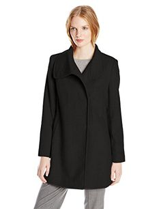 Larry Levine Womens Wool Herringbone Coat Black Large * You can find out more details at the link of the image.