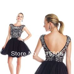 Online Shop 2014 homecoming dresses new arrival a-line short black prom dresses with cap sleeves custom made under 100|Aliexpress Mobile