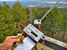 My friend Fred/KT5X's SOTA station ATS4 and home made paddles with antenna (EFHW) operating from a fire tower in AZ #QRP #Ham Radio #Amateur Radio