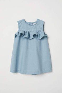 Flounced Cotton Dress - Baby Girl Dress - Ideas of Baby Girl Dress - Flounced Cotton Dress Light turquoise Kids Kids Frocks, Frocks For Girls, Little Girl Dresses, Baby Dresses, Girls Dresses, Dress Girl, Peasant Dresses, Dresses For Kids, Toddler Girl Dresses