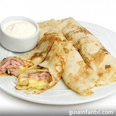 Ham and Cheese Crepes Baby Food Recipes, Mexican Food Recipes, Cooking Recipes, Tapas, Kids Meals, Easy Meals, Food Porn, Pancakes And Waffles, Breakfast For Kids