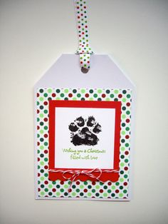 paw print christmas card pet by JDooreCreations