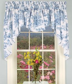 Lenoxdale Toile Swag for over farmhouse kitchen sink and window-cafe style