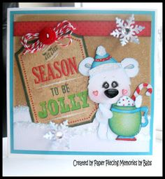 Christmas Polar Bear card created by PAPER PIECING MEMORIES BY BABS, pattern by KaDoodle Bug Designs.