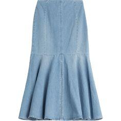 Kenzo Denim Midi Skirt (358 AUD) ❤ liked on Polyvore featuring skirts, bottoms, blue, kenzo, blue denim skirt, zipper skirt, calf length skirts and blue midi skirt