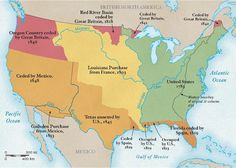 In less than 50 years, the western border of United States grew from the Mississippi River to the Pacific Ocean, starting with the Louisiana Purchase and ending with the territories gained from Mexico. Mexican American War, American History, British North America, Oregon Country, Louisiana Purchase, National Geographic Society, United States Map, Us History, Frases
