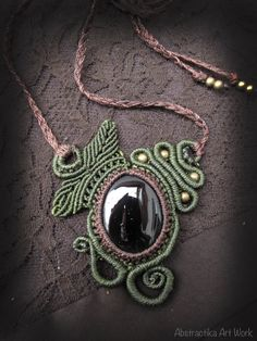 Macrame necklace with obsidian gemstone. by AbstractikaCrafts, £36.00