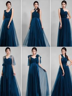 Flowing Dark Turquoise A-line Floor Length Infinity Dress Wedding Party Dress Bridesmaid Dress
