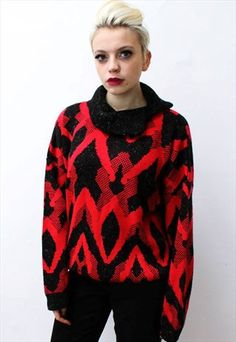 80's Vintage red aztec grey slouchy grunge jumper // This is a unique vintage, hand picked item by Pretty Disturbia which is right on trend!  FABRIC - 100% Polyester. .It really is stunning and unusual with knitted  aztec design - it is perfect for any occassion!  DETAILS- It is high quality and unusual. It has no labels STYLING- This is perfect for a night out with heels and skinny jeans or in the day with boots and a denim jacket, it goes with any outfit.  SIZE-  WOuld say it is a size 12… Aztec Designs, Jumpers For Women, Unique Vintage, Night Out, Knitwear, Grunge, Size 12, Skinny Jeans, Pullover