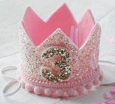 This item is unavailable 1st Birthday Party For Girls, Pink Birthday, Birthday Party Decorations, Felt Crown, Glitter Fabric, Pink Glitter, Pink Crown, Baby Shower Princess, Elastic Headbands