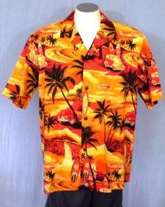 Royal Hawaiian Creations Orange XL Hawaiian Shirt Sunset Surfboards Palm Trees #RoyalHawaiianCreations #Hawaiian