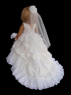 American Girl Doll Clothes Princess Wedding Gown Dress. Ready to ship.    This Wedding Dress is fit for a Princess! A lot of work went into making