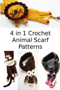 4 Crochet Animal Scarf Patterns in PDF by missdee1 on Etsy, $20.00