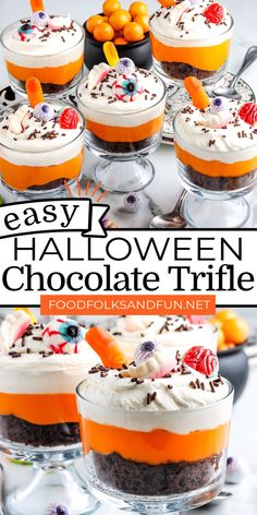 This Easy Halloween Chocolate Trifle recipe is made from cake mix chocolate cake, instant vanilla pudding, Cool Whip, and assorted Halloween Candies. For more easy dessert ideas follow Food Folks and Fun!