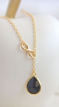 Black Teadrop and Gold Infinity Lariat Necklace