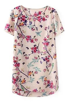 ROMWE   ROMWE Floral Print Round Neck Short Sleeves T-shirt, The Latest Street Fashion