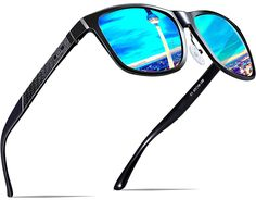 2f9451200 ATTCL Hombre Gafas de sol Polarizado Al-Mg Metal Super Ligero Marco  18587blue: Amazon