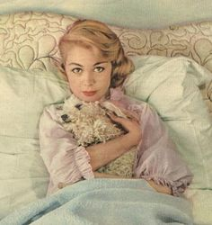 Sandra Dee with a white poodle