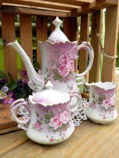 Beautiful vintage rose tea set.