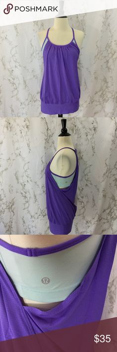Lululemon No Limits tank power purple aquamarine Lululemon athletica No Limits tank size 6. Style W1575S. In power purple and aquamarine. Sports bra with attached draped and banded tank. Perfect for yoga. Approximately 14 inches armpit to armpit, 26.5 inches long. Built in bra has no pads.   Please ask any questions. Offers welcome. Thanks for shopping my closet! lululemon athletica Tops Tank Tops