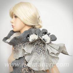 Felted 3D ART Scarf Silk wool wrap shawl scarf White by RudmanArt,