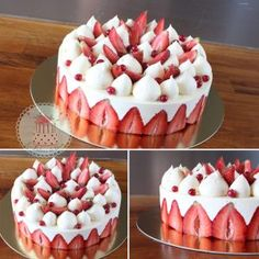 Holiday Recipes 80619 My beloved strawberry - Les Délices de Oumi Homemade Cake Recipes, Baking Recipes, Cookie Recipes, Dessert Recipes, Cake Recipes From Scratch, Number Cakes, Strawberry Cakes, Food Cakes, Christmas Desserts