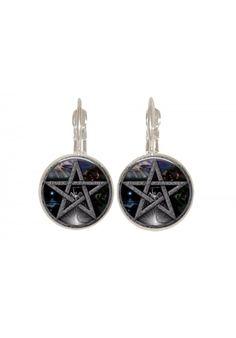 Black pentagram wiccan glass earring yoga natural on earring