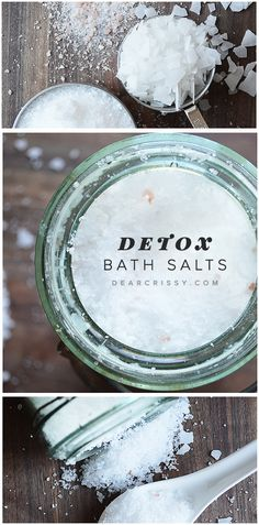 Detox Bath Salts Recipe - Make your own bath salts at home. This DIY bath salts recipe will help you relax, soothes aching muscles and draws out toxins while you bathe. You really MUST try this!