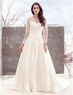 Lanting Bride® Trapèze Robe de Mariage Traîne Chapelle Col en V Dentelle / Satin avec Dentelle