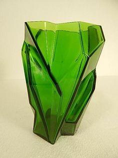 RARE Art Deco Consolidated Ruba Rombic Emerald Green Art Glass Cubism Vase 1928   eBay
