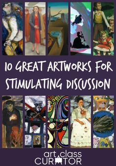 These artworks spark lots of interesting ideas, have easy to notice design choices that contribute to the meaning and always lead to a great art criticism discussion. High School Drawing, High School Art, High School Literature, Literature Circles, Painting Lessons, Art Lessons, Intro To Art, Icebreaker Activities, Art Criticism