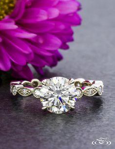 Marquise Diamond Bezel Engagement Ring. Green Lake Jewelry