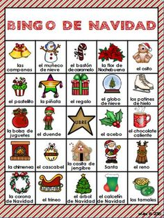 Bingo de Navidad. Christmas bingo in Spanish. It includes 22 different Christmas bingo cards and 54 calling cards. A fun activity to practice Spanish vocabulary during the holidays.