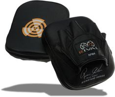"""Rival Boxing Punch Mitts: Perfect for training: Quality cowhide leather construction. 1 """" of shock dispersing foam. Pre-curved design Color: Black Dimension: 170 mm x 190 mm Punch, Martial Arts Equipment, Cowhide Leather, Baseball Hats, Stuff To Buy, Ebay, Design Color, Color Black, Construction"""