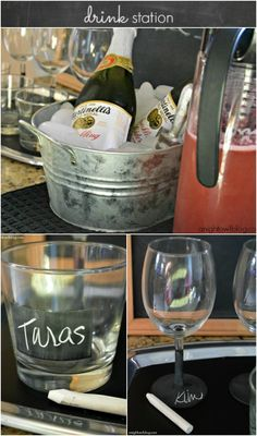 Drink Station Ideas with DIY Chalkboard Barware for an Easy Elegant Dinner Party
