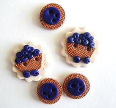 Button Blueberry Basket handmade polymer clay