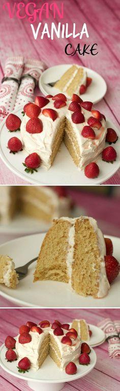 Vegan vanilla cake - light, fluffy and dreamy! vegan vegan c Healthy Vegan Dessert, Vegan Dessert Recipes, Vegan Treats, Vegan Foods, Vegan Snacks, Vegan Dishes, Baking Recipes, Whole Food Recipes, Vanilla Recipes