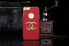 Chanel iphone 6 Round Hold Hard Back Cases Covers Red Free Shipping - Deluxeiphone6case.com
