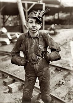 Photo by Lewis W. Hine.1908 A young mine worker:  Turkey Knob Coal Mine, Macdonald, West Virginia.